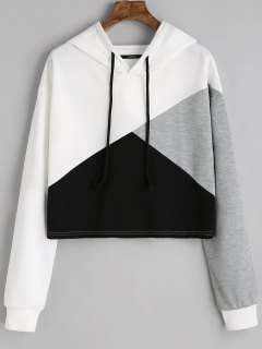 Contrast Drawstring Drop Shoulder Hoodie - White M