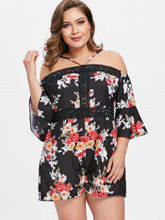 Cami Floral Plus Size Romper - Negro 2xl