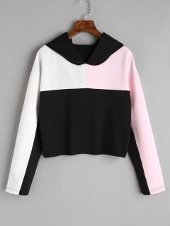 Cropped Color Block Hoodie - Black L