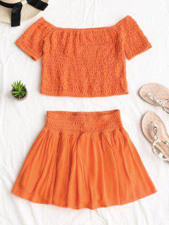 Smocked Off Shoulder Top And Skorts Set - Orange Red M