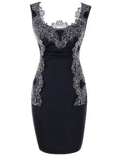 Vestido Bodycon De Bloque De Color Con Bordado De Tallas Grandes - Negro 5xl