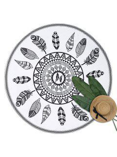 Leaf Print Round Beach Throw - White And Black
