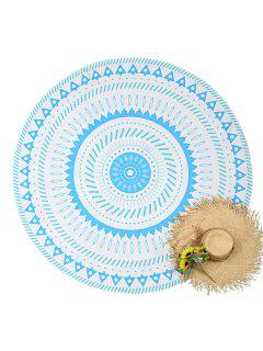 Geometrical Print Round Beach Throw - White