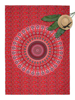 Floral Mandala Print Rectangle Beach Throw - Red