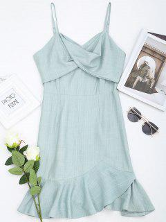 Ruffle Twist Slip Mini Dress - Light Green S