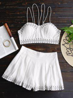 Bralette Lace Up Top And Embroidered Shorts Set - White M