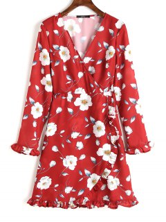 Tiered Floral Ruffle Long Sleeve Dress - Red M