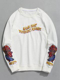 Raglan Sleeve Letter Embroidered Sweatshirt - White L