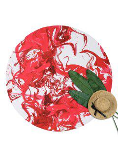 Abstract Print Round Beach Throw - Red With White