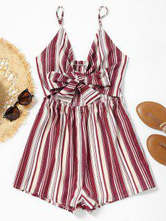 Cami Cut Out Bowknot Striped Romper - Stripe S