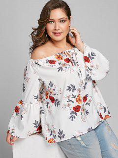 Off Shoulder Plus Size Floral Blouse - White 4xl