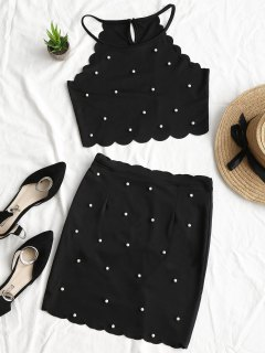 Faux Pearls Scalloped Top And Bodycon Skirt Set - Black L