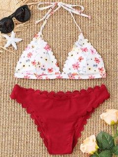 Ensemble Bikini Floral Festonné à Col Halter - Rouge Foncé S