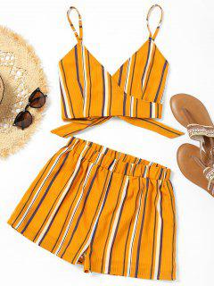 Striped Wrap Cami Top With Shorts - Yellow L