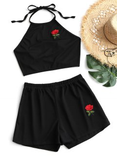 Back Tied Cropped Embroidered Patch Top And Shorts Set - Black M