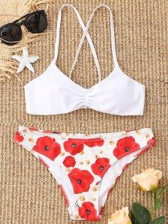 Floral Lace-up Bikini Set - White M