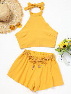 Halter Backless Crop Top And Shorts Set - Yellow Xl
