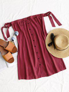 Tied Button Up Mini Dress - Wine Red L