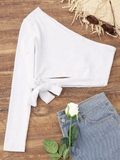 Tied One Shoulder Crop Top - White L