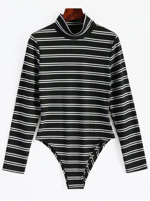 latest High Neck Striped Long Sleeve Bodysuit - BLACK S Mobile
