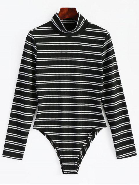 trendy High Neck Striped Long Sleeve Bodysuit - BLACK M Mobile