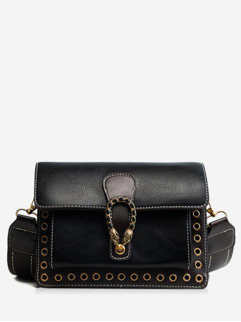 trendy Eyelets Faux Leather Crossbody Bag - BLACK  Mobile