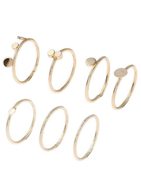 lady Simple Circle Disc Finger Ring Set - GOLDEN ONE-SIZE Mobile