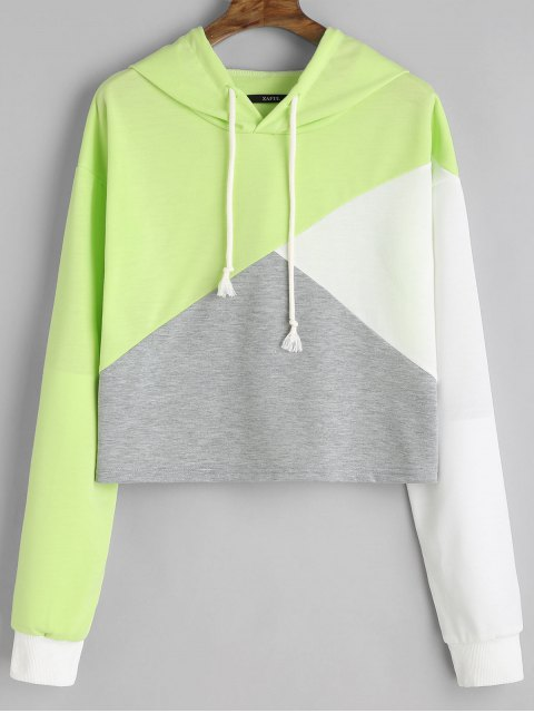 sale Contrast Drawstring Drop Shoulder Hoodie - LIGHT GREEN L Mobile