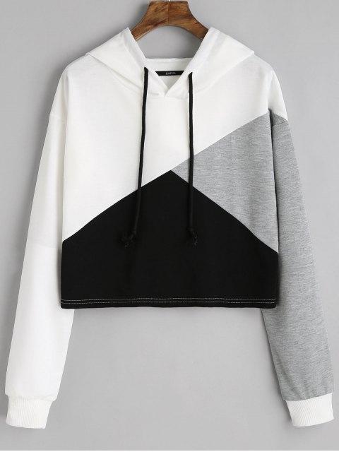 Kontrast Kordelzug Drop Schulter Hoodie - Weiß S Mobile