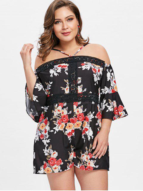 Cami Floral Plus Size Romper - Noir 2XL Mobile