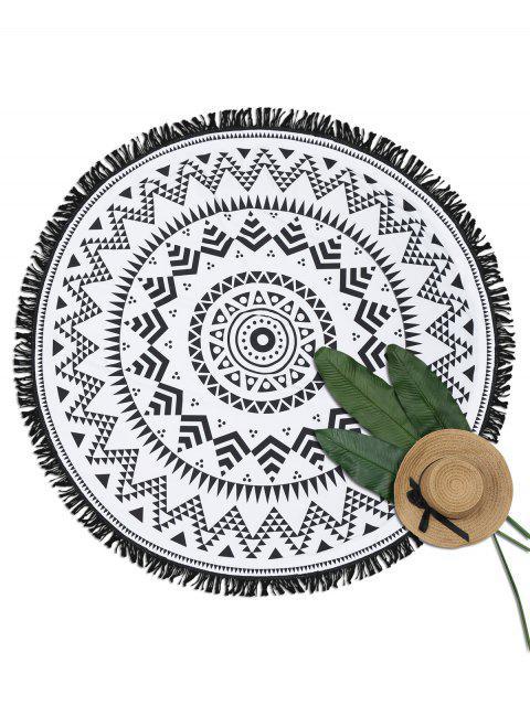 fashion Geometrical Print Fringe Round Beach Blanket - WHITE AND BLACK ONE SIZE Mobile