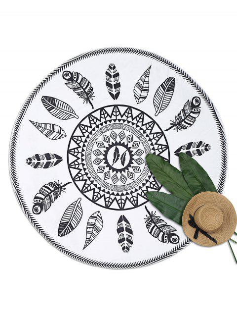 shop Leaf Print Round Beach Throw - WHITE AND BLACK ONE SIZE Mobile