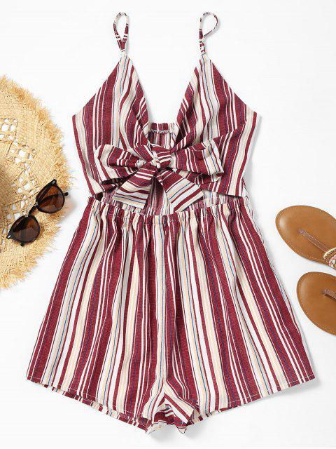 ladies Cami Cut Out Bowknot Striped Romper - STRIPE M Mobile
