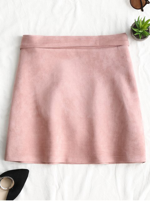 womens Tiered Bowknot Faux Suede Mini Skirt - PINK L Mobile