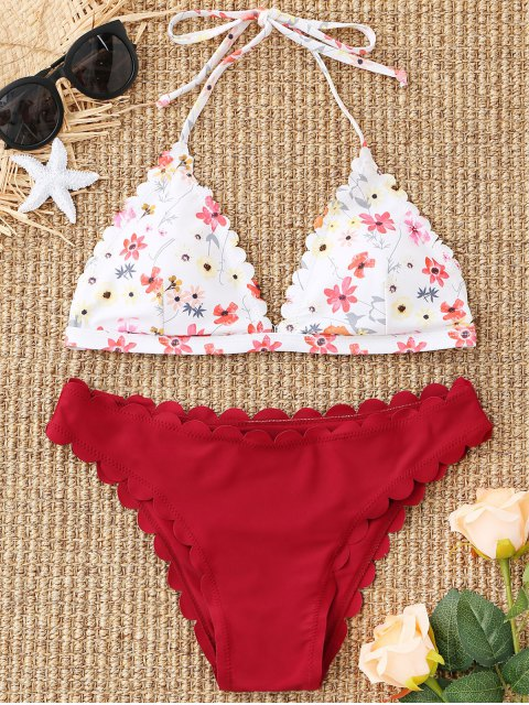ladies Floral Scalloped Halter Bikini Set - DARK RED M Mobile