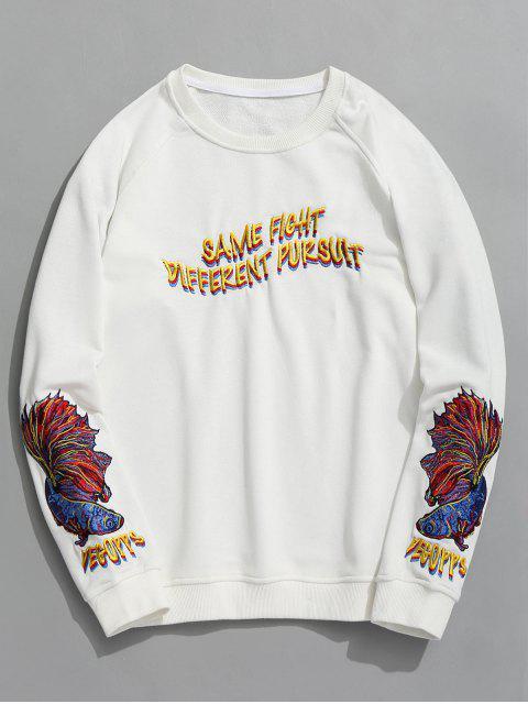 Raglan-Ärmel-Buchstabe-gesticktes Sweatshirt - Weiß M Mobile