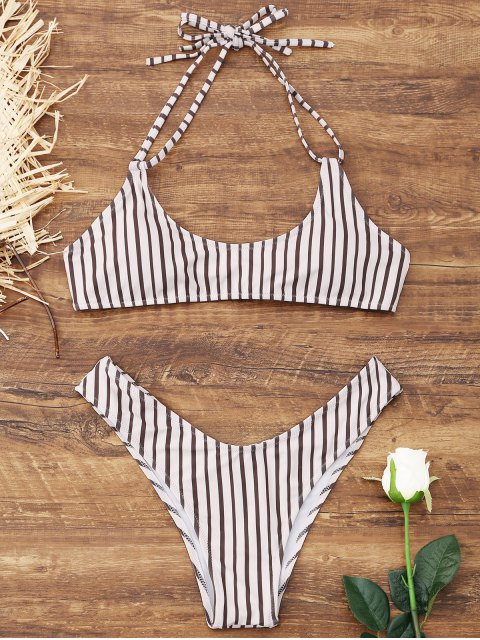 trendy High Cut Thong Striped Bikini Set - WHITE S Mobile
