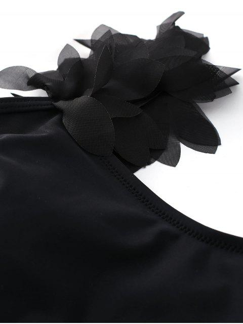 trendy Stereo Flower One Piece Swimsuit - BLACK S Mobile