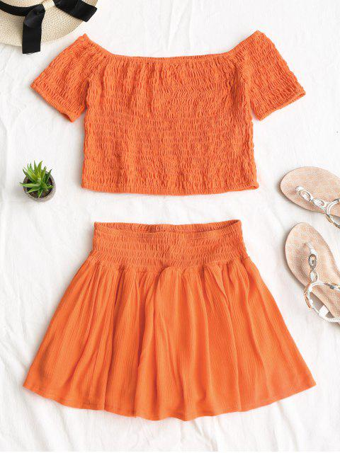 trendy Smocked Off Shoulder Top and Skorts Set - ORANGE RED L Mobile