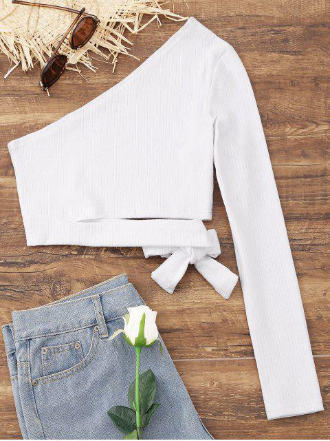 trendy Tied One Shoulder Crop Top - WHITE M Mobile