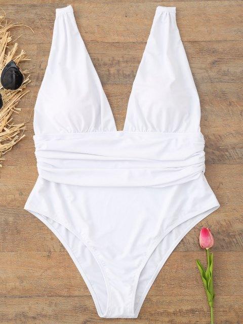 Plus Größe Plunge Badeanzug - Weiß 3XL Mobile