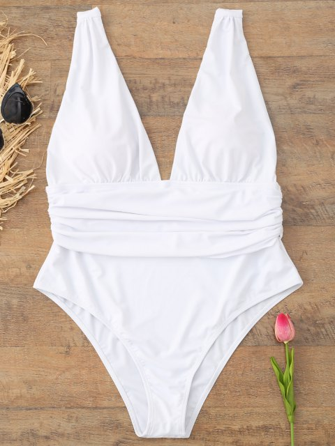 fancy Plus Size Plunge Swimsuit - WHITE 4XL Mobile