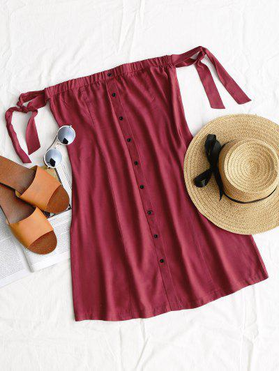 Tied Button Up Mini Dress - Wine Red S