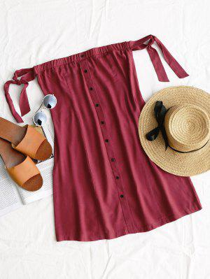 Riemen Knopf Oben Mini Kleid