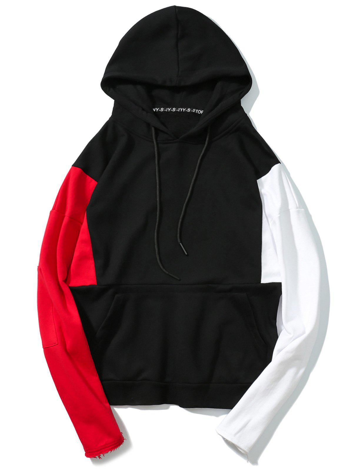 Raw Hem Sleeves Color Block Hoodie 248784703