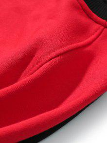 Sweatshirt Raglan Negro Rojo Patch 2xl Ribbon Con Letter Sleeve qIT44w