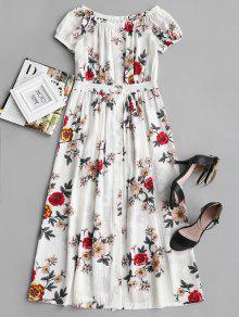 Vestido abotonado con estampado floral en el hombro