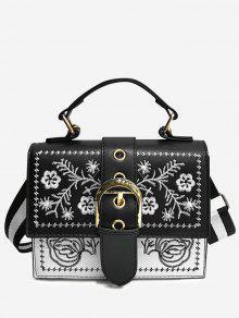 زهرة التطريز اللون حجب مشبك حقيبة كروسبودي - أسود
