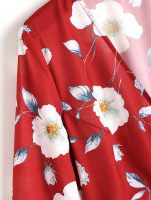 Florales De Vestido Manga Volantes L Con Gradas Rojo Larga wwdTrXBnq