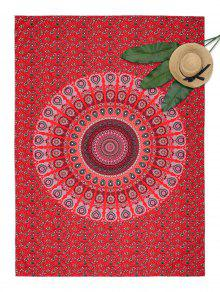 Buy Floral Mandala Print Rectangle Beach Throw - RED ONE SIZE